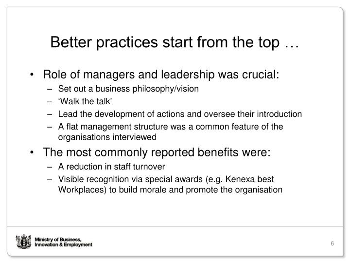 Better practices start from the top …