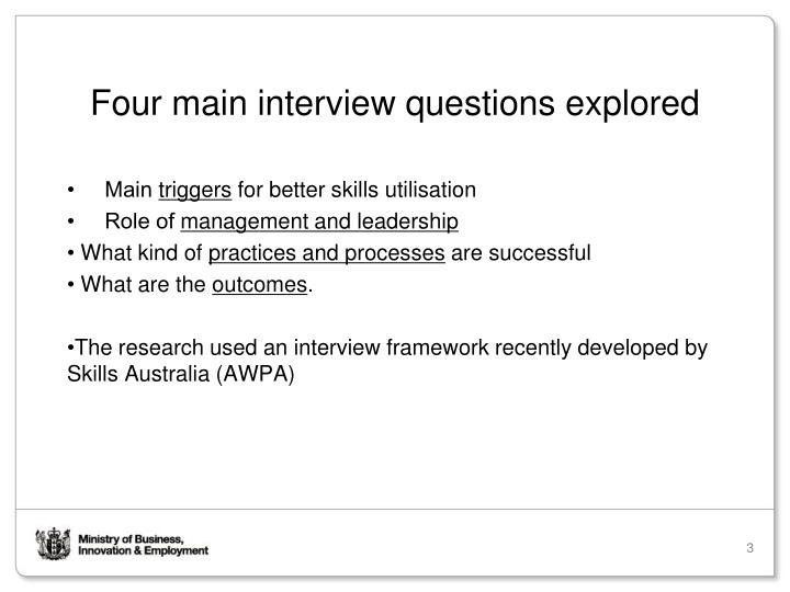Four main interview questions explored