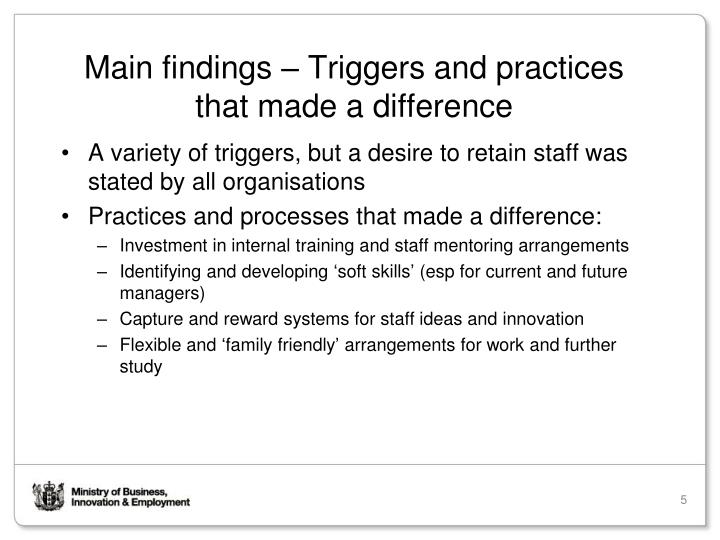 Main findings – Triggers and practices that made a difference