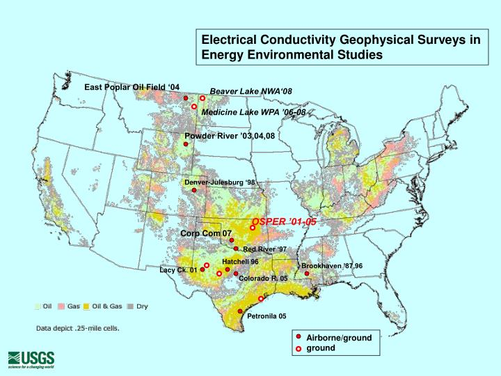 Electrical conductivity geophysical surveys in energy environmental studies