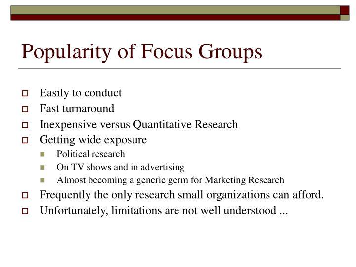 Popularity of Focus Groups