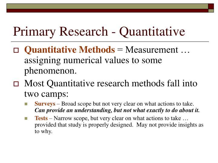 Primary Research - Quantitative