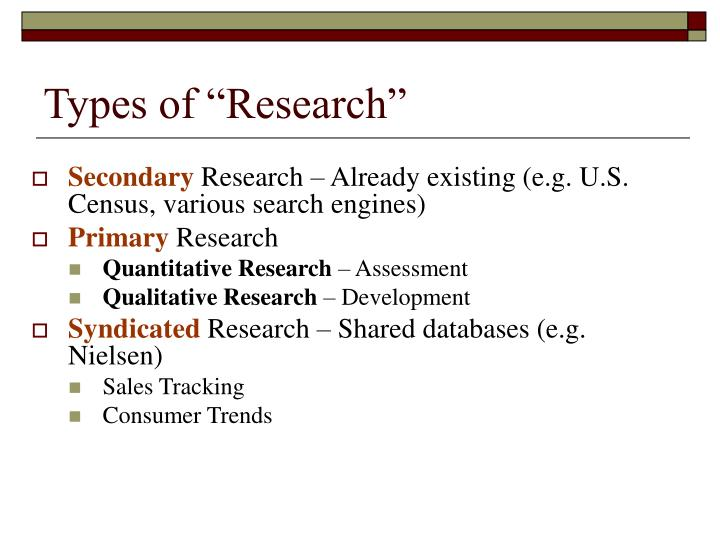 """Types of """"Research"""""""