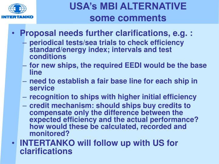 USA's MBI ALTERNATIVE