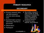 primary research secondary