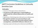 aafp curriculum guidelines in culturally sensitive care