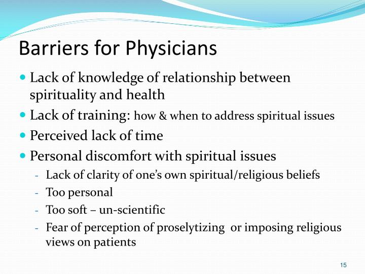Barriers for Physicians