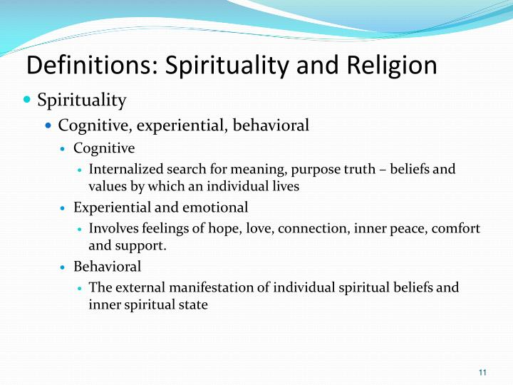 Definitions: Spirituality and Religion