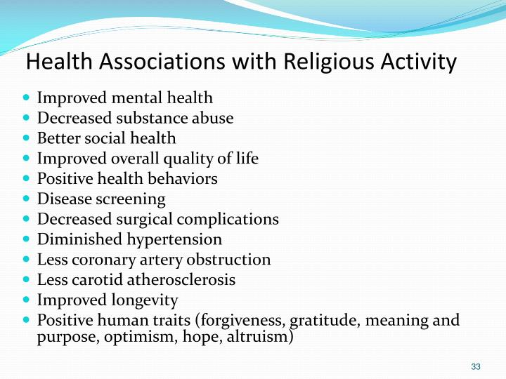 Health Associations with Religious Activity
