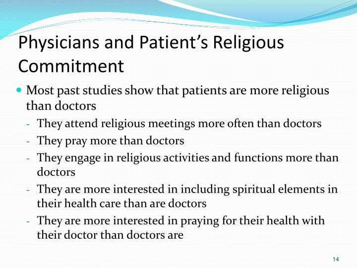 Physicians and Patient's Religious Commitment