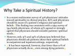 why take a spiritual history