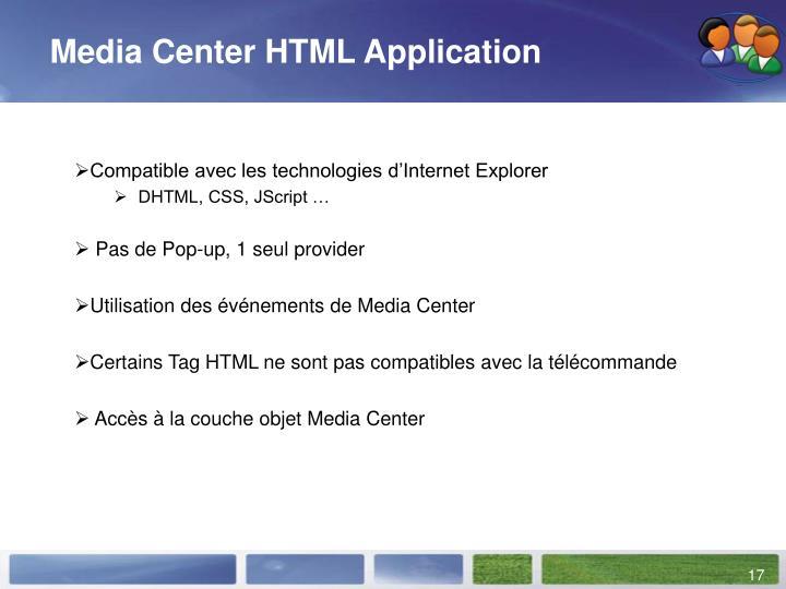 Media Center HTML Application