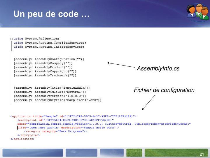 Un peu de code …