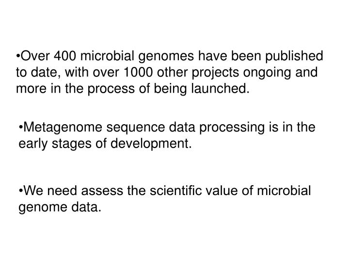 Over 400 microbial genomes have been published to date, with over 1000 other projects ongoing and more in the process of being launched.