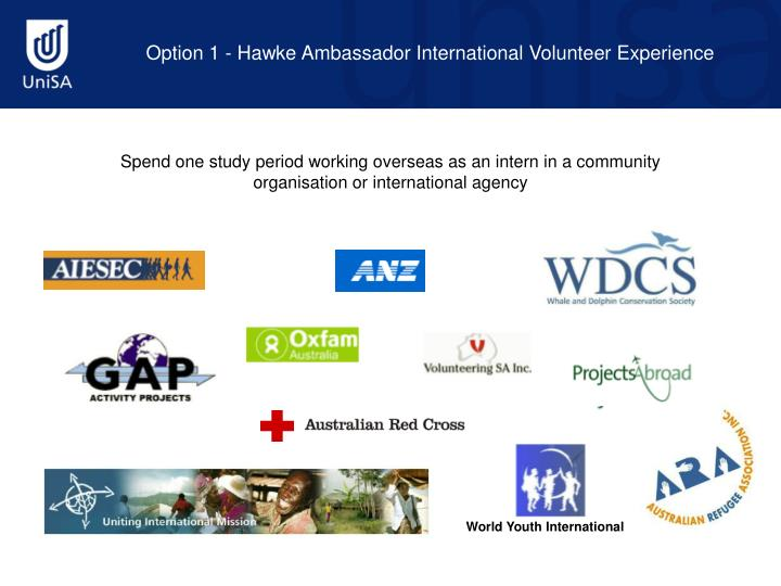 Option 1 - Hawke Ambassador International Volunteer Experience