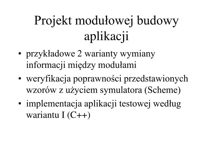 Projekt modułowej budowy aplikacji