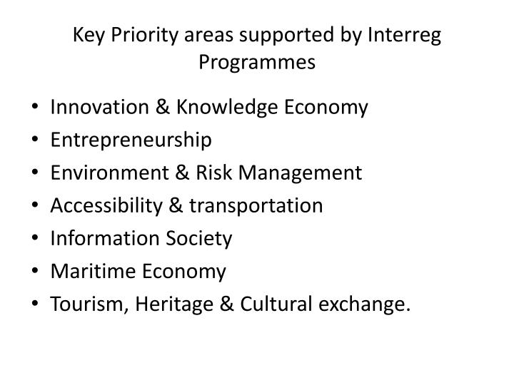 Key Priority areas supported by Interreg Programmes