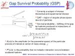 gap survival probability gsp