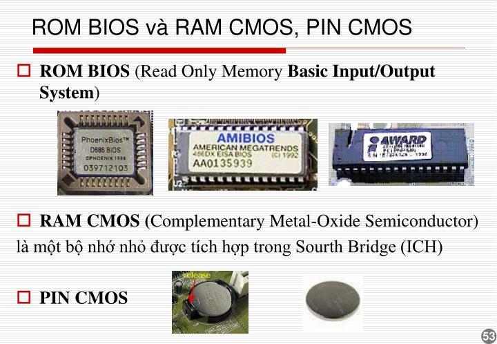 ROM BIOS và RAM CMOS, PIN CMOS