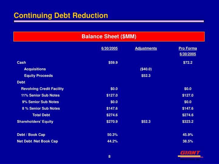 Continuing Debt Reduction