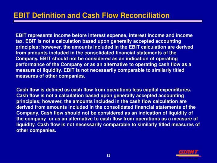 EBIT Definition and Cash Flow Reconciliation