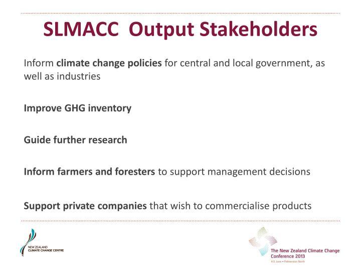 SLMACC  Output Stakeholders