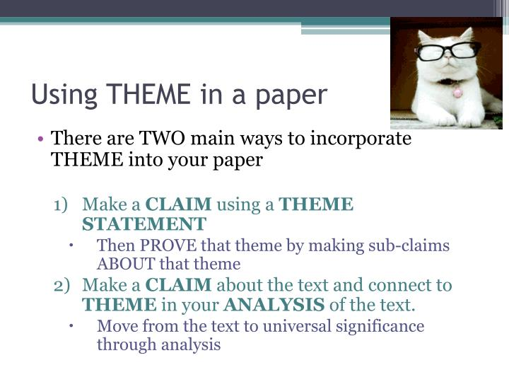 Using THEME in a paper