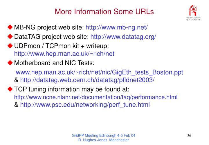 More Information Some URLs