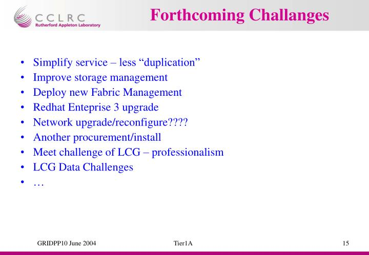 Forthcoming Challanges