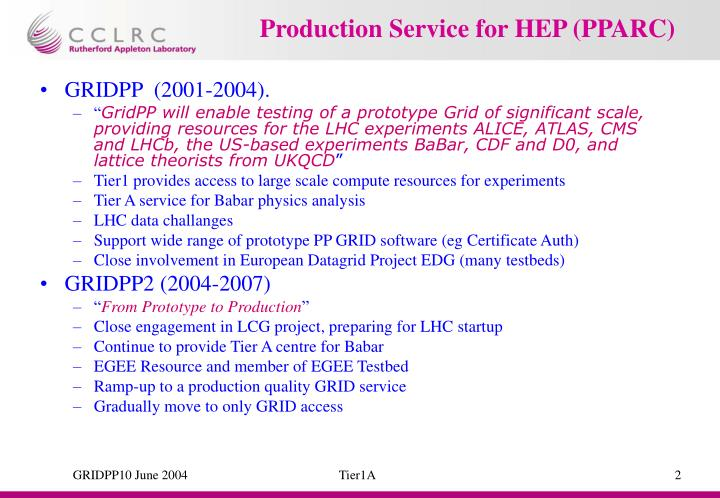 Production Service for HEP (PPARC)