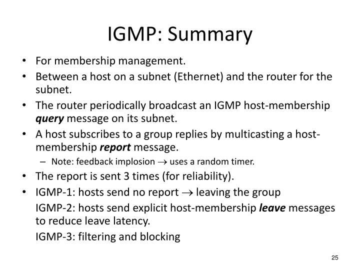 IGMP: Summary