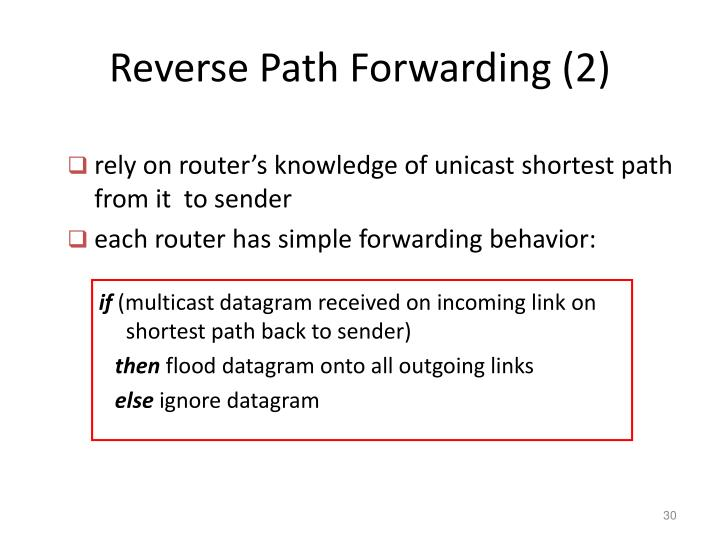 Reverse Path Forwarding (2)