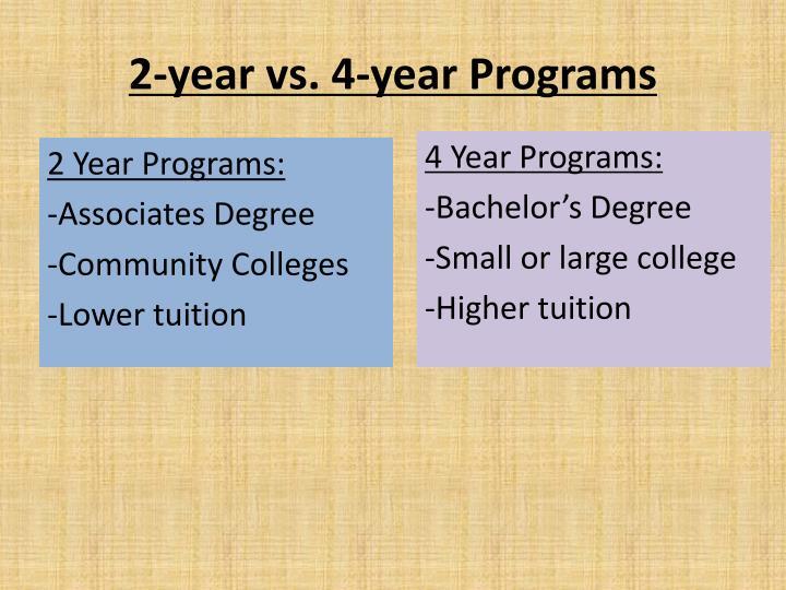 2-year vs. 4-year Programs