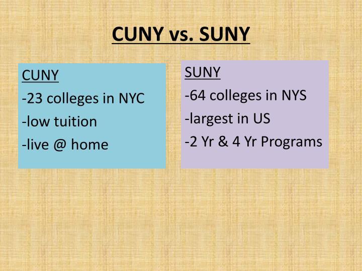 CUNY vs. SUNY