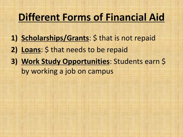 Different Forms of Financial Aid
