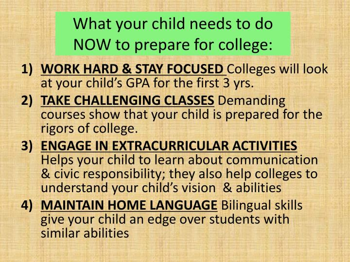 What your child needs to do NOW to prepare for college: