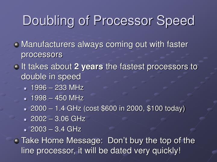 Doubling of Processor Speed