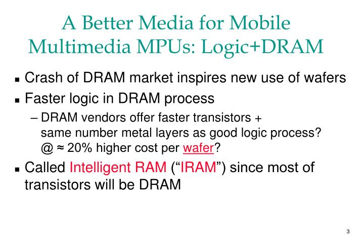 A Better Media for Mobile Multimedia MPUs: Logic+DRAM
