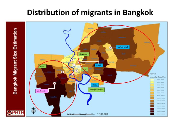 Distribution of migrants in Bangkok