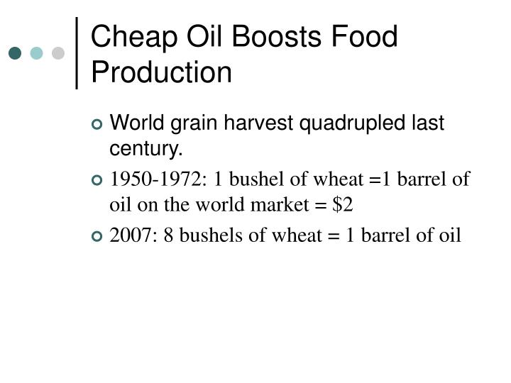 Cheap Oil Boosts Food Production