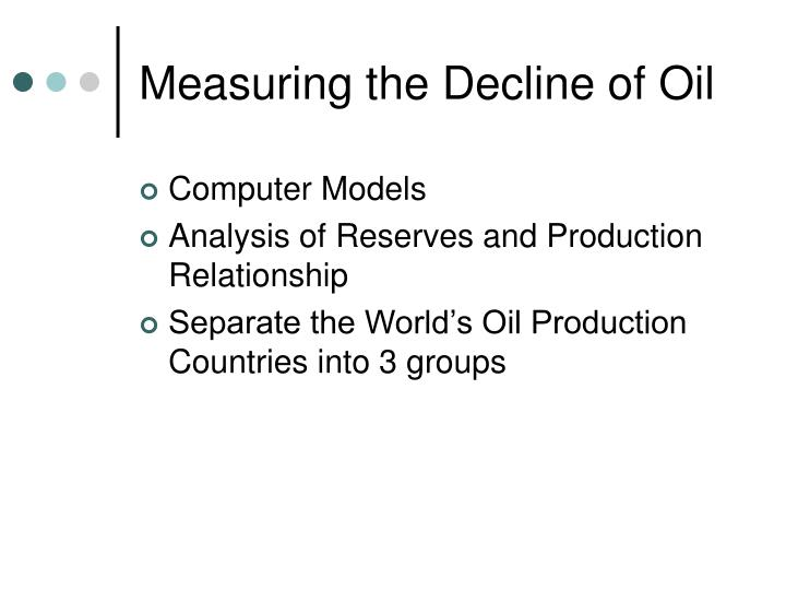 Measuring the Decline of Oil