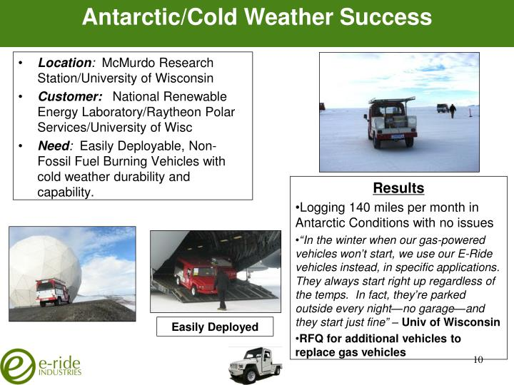 Antarctic/Cold Weather Success