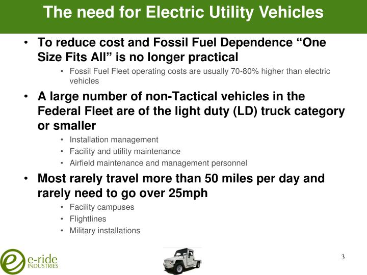 The need for Electric Utility Vehicles
