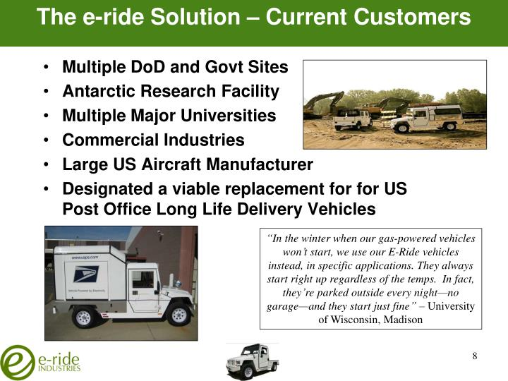 The e-ride Solution – Current Customers