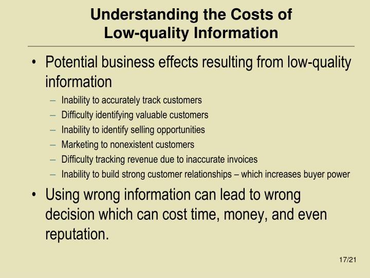 Understanding the Costs of