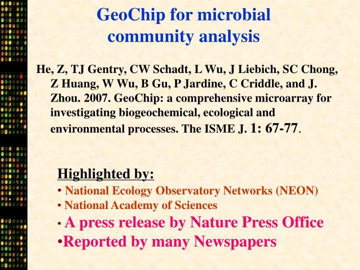 GeoChip for microbial community analysis