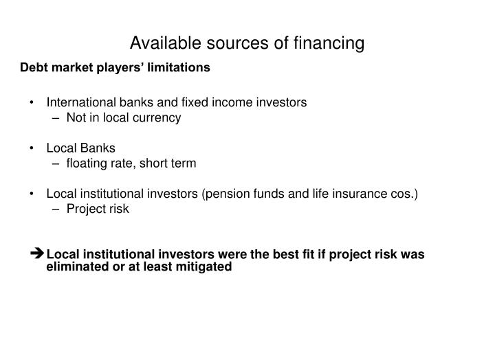 Available sources of financing