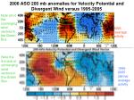 2006 aso 200 mb anomalies for velocity potential and divergent wind versus 1995 2005