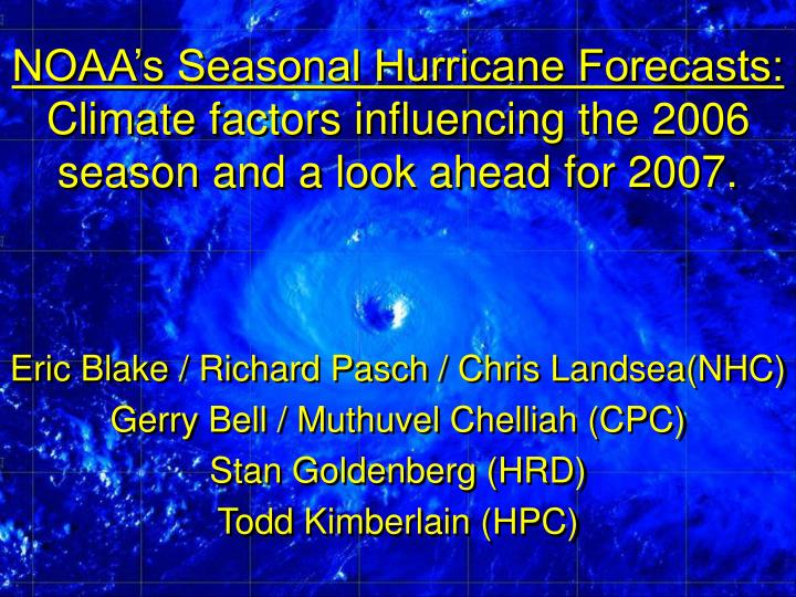NOAA's Seasonal Hurricane Forecasts: