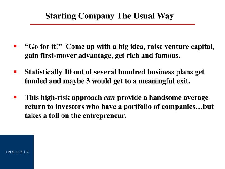 """""""Go for it!""""  Come up with a big idea, raise venture capital, gain first-mover advantage, get rich and famous."""